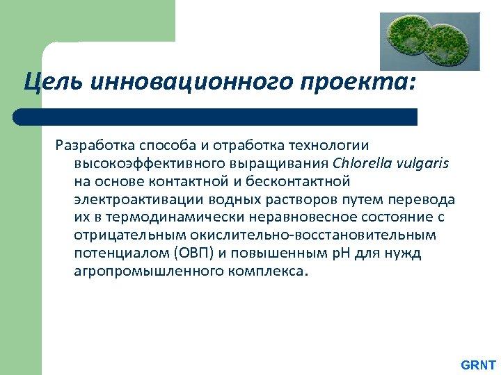 Цель инновационного проекта: Разработка способа и отработка технологии высокоэффективного выращивания Chlorella vulgaris на основе