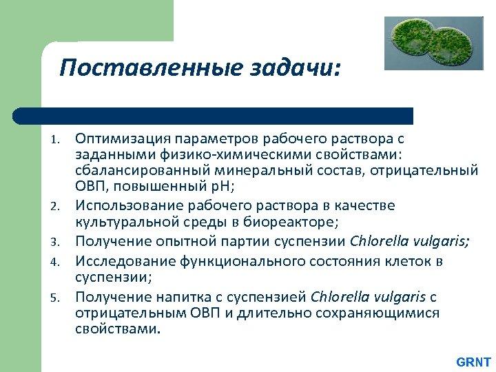 Поставленные задачи: 1. 2. 3. 4. 5. Оптимизация параметров рабочего раствора с заданными физико-химическими