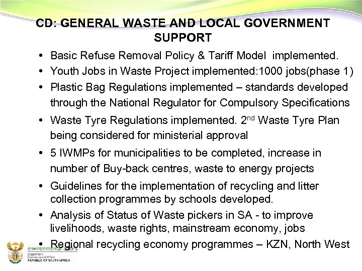 CD: GENERAL WASTE AND LOCAL GOVERNMENT SUPPORT • Basic Refuse Removal Policy & Tariff