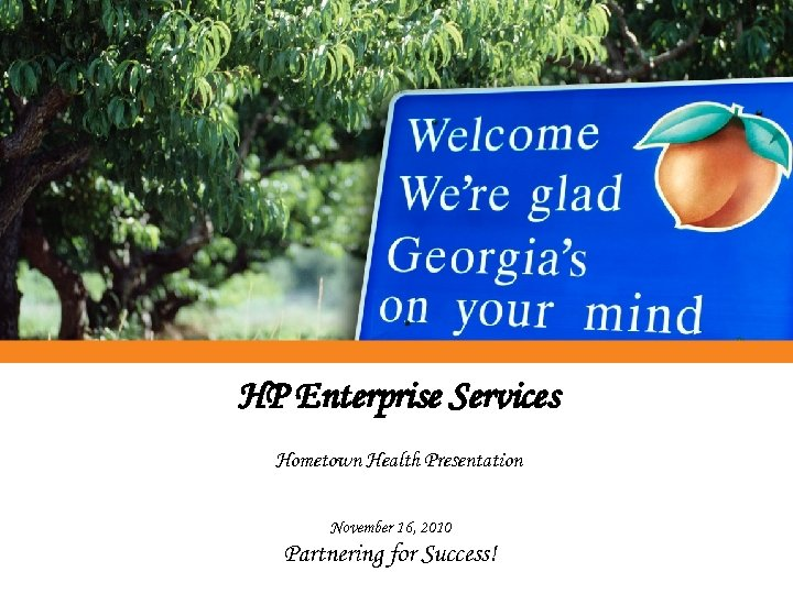 HP Enterprise Services Hometown Health Presentation November 16, 2010 Partnering for Success!