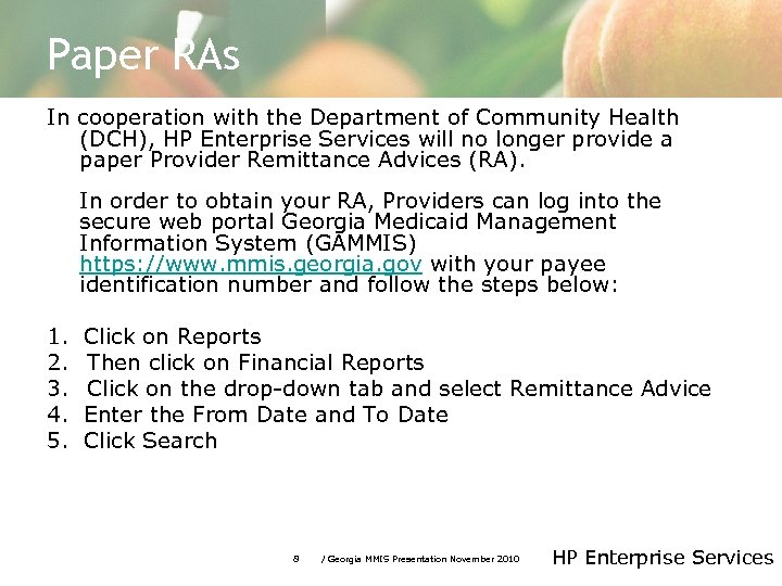 Paper RAs In cooperation with the Department of Community Health (DCH), HP Enterprise Services
