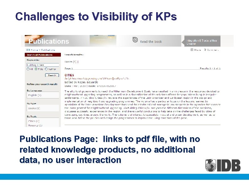 Challenges to Visibility of KPs Publications Page: links to pdf file, with no related