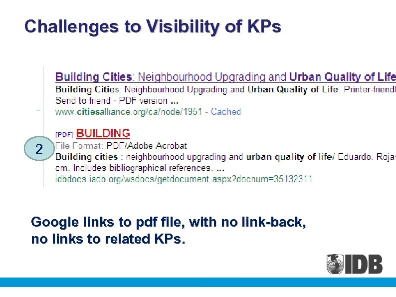 Challenges to Visibility of KPs 2 Google links to pdf file, with no link-back,