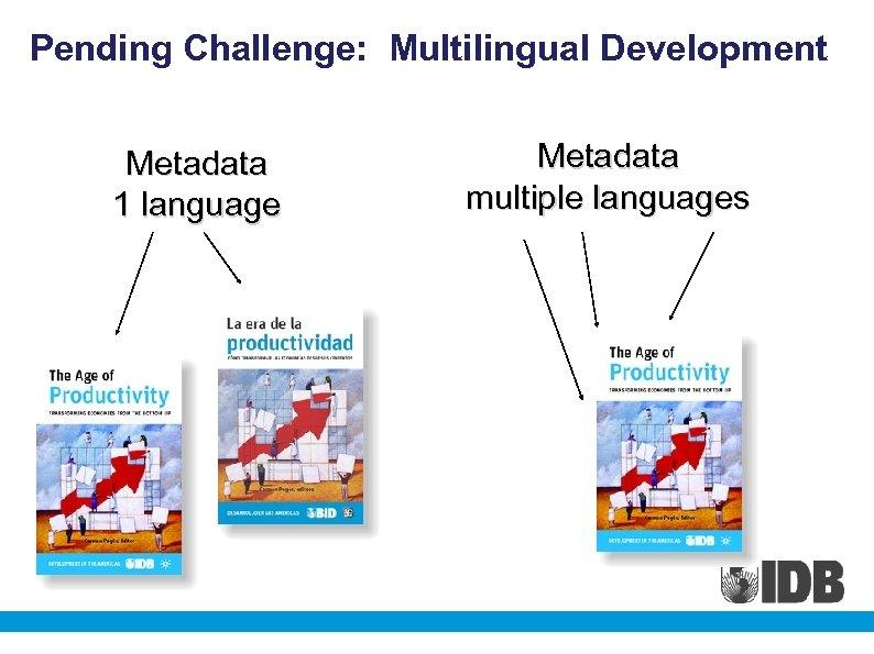 Pending Challenge: Multilingual Development Metadata 1 language Metadata multiple languages