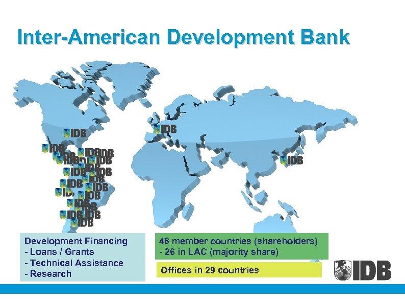 Inter-American Development Bank Development Financing - Loans / Grants - Technical Assistance - Research
