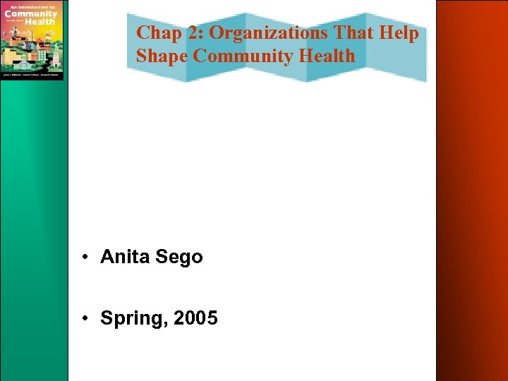 Chap 2: Organizations That Help Shape Community Health • Anita Sego • Spring, 2005