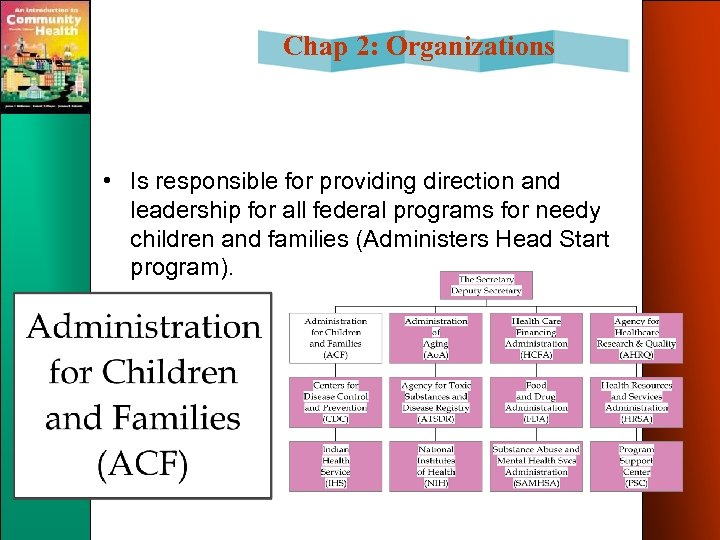 Chap 2: Organizations • Is responsible for providing direction and leadership for all federal