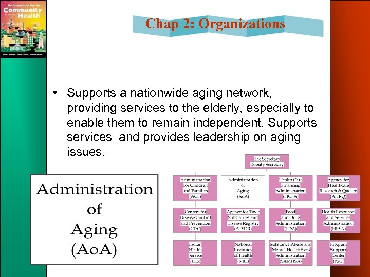 Chap 2: Organizations • Supports a nationwide aging network, providing services to the elderly,
