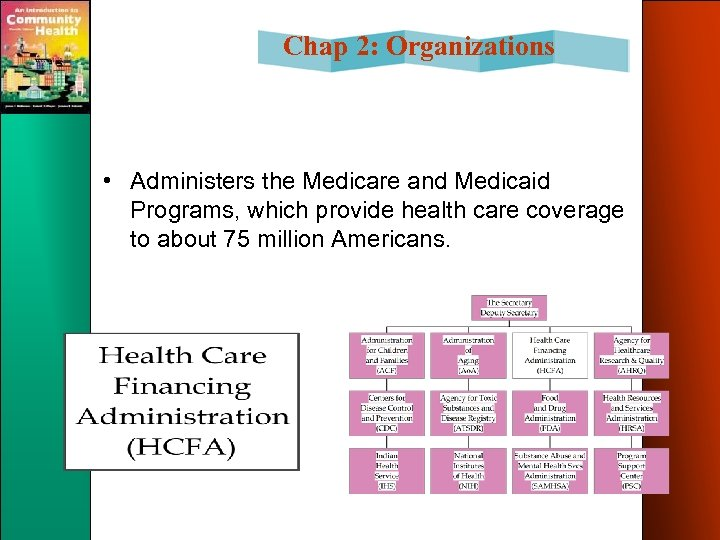 Chap 2: Organizations • Administers the Medicare and Medicaid Programs, which provide health care