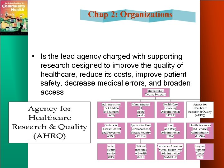 Chap 2: Organizations • Is the lead agency charged with supporting research designed to