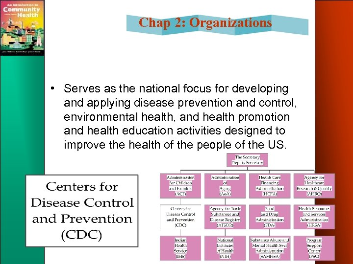 Chap 2: Organizations • Serves as the national focus for developing and applying disease