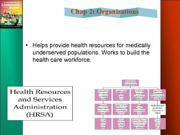 Chap 2: Organizations • Helps provide health resources for medically underserved populations. Works to