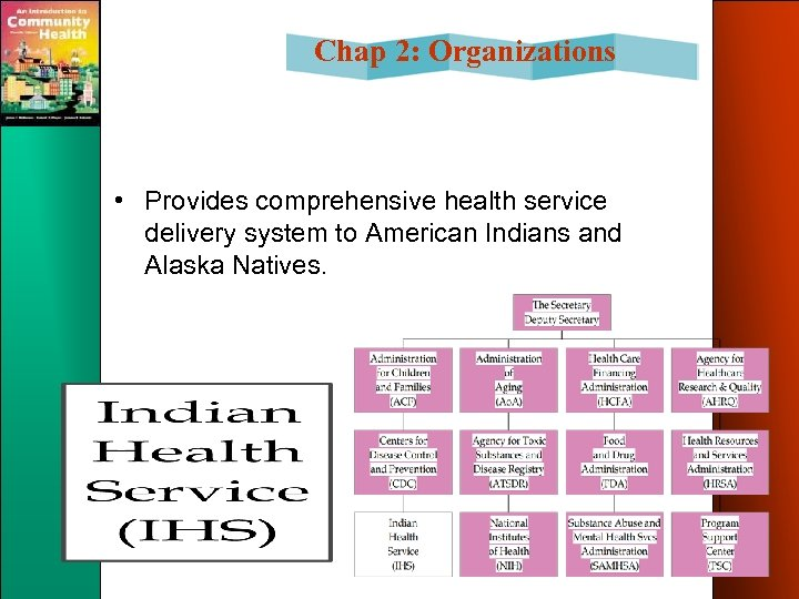 Chap 2: Organizations • Provides comprehensive health service delivery system to American Indians and