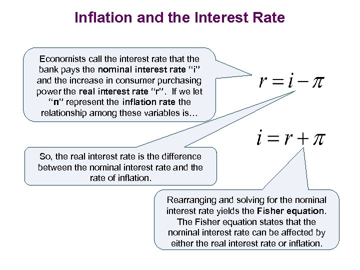 Inflation and the Interest Rate Economists call the interest rate that the bank pays