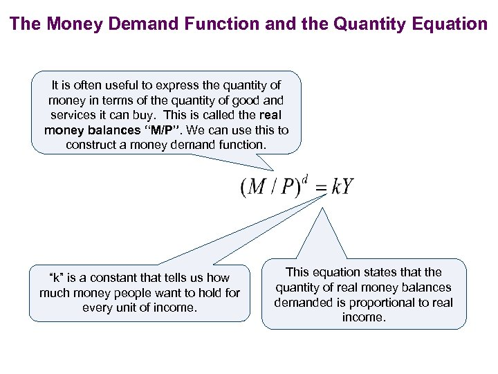 The Money Demand Function and the Quantity Equation It is often useful to express