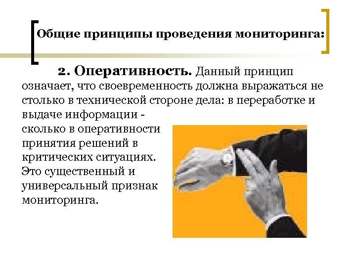 Общие принципы проведения мониторинга: 2. Оперативность. Данный принцип означает, что своевременность должна выражаться не