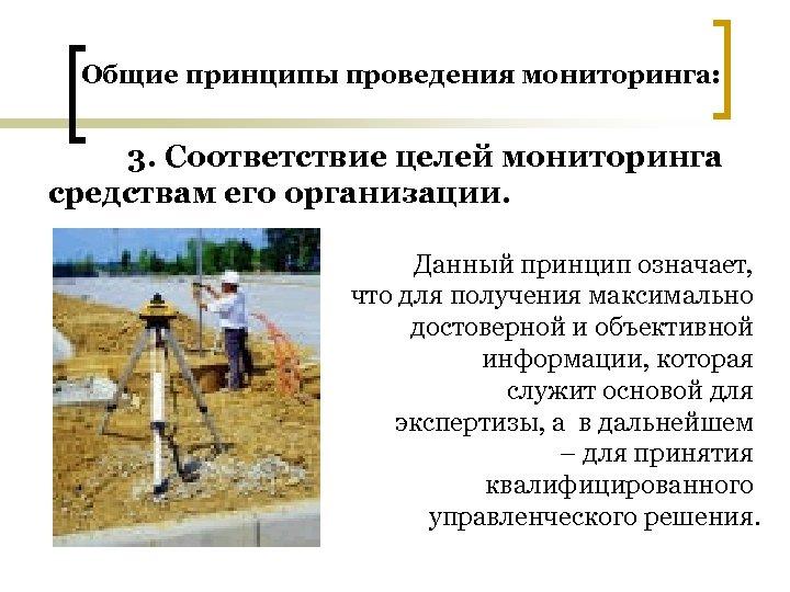 Общие принципы проведения мониторинга: 3. Соответствие целей мониторинга средствам его организации. Данный принцип означает,