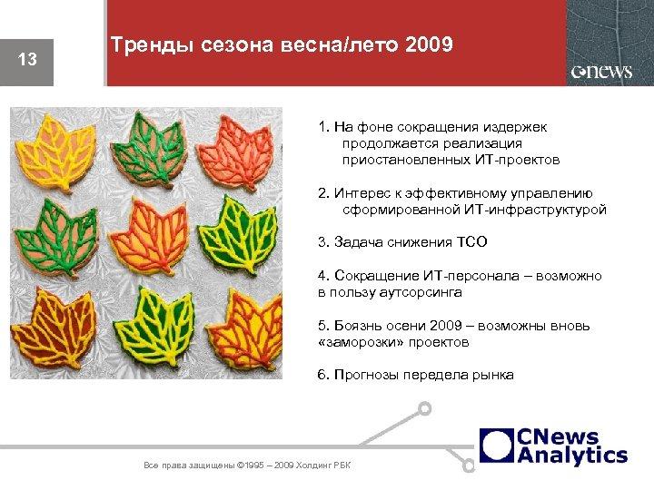13 Тренды сезона весна/лето 2009 1. На фоне сокращения издержек продолжается реализация приостановленных ИТ-проектов