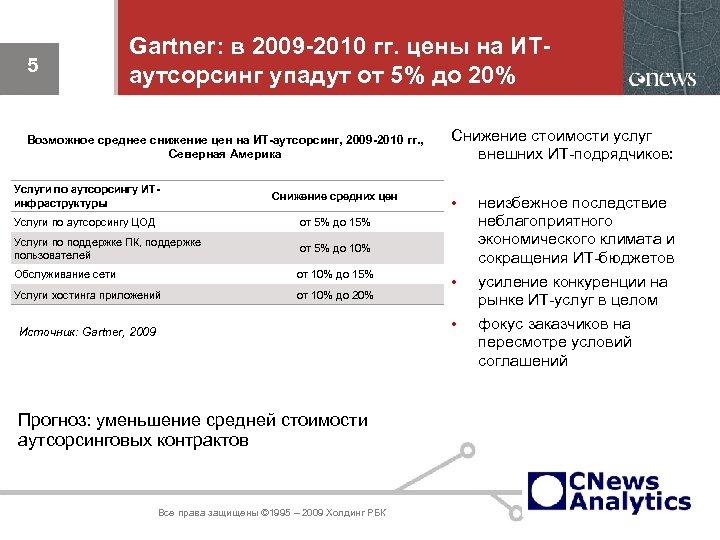 5 Gartner: в 2009 -2010 гг. цены на ИТаутсорсинг упадут от 5% до 20%