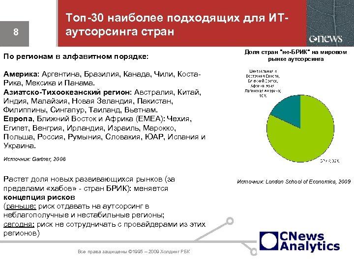 8 Топ-30 наиболее подходящих для ИТаутсорсинга стран По регионам в алфавитном порядке: Доля стран