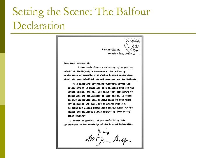 Setting the Scene: The Balfour Declaration
