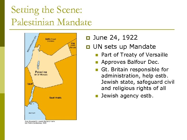 Setting the Scene: Palestinian Mandate p p June 24, 1922 UN sets up Mandate