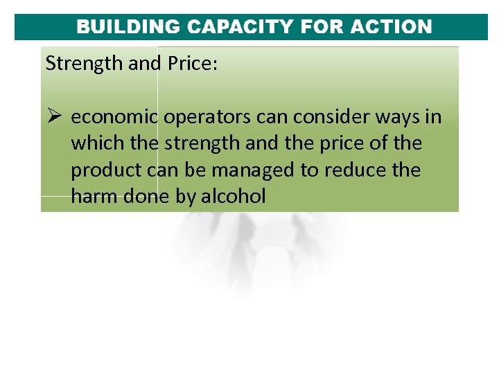 Strength and Price: Ø economic operators can consider ways in which the strength and