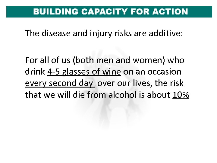 The disease and injury risks are additive: For all of us (both men and