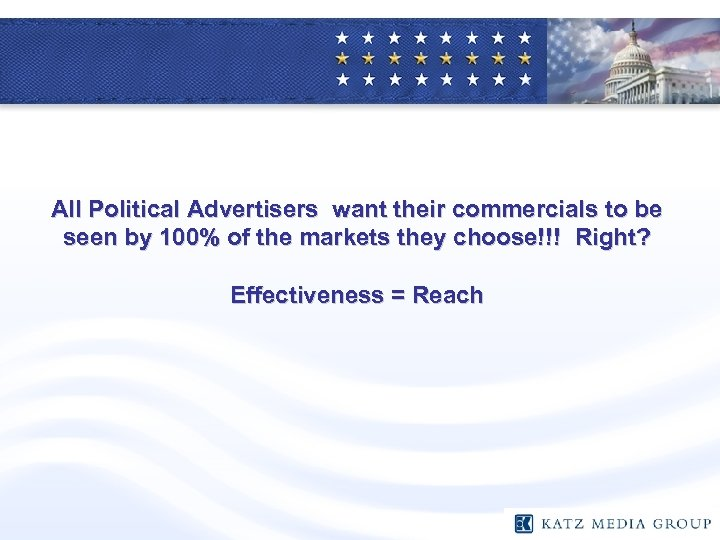 All Political Advertisers want their commercials to be seen by 100% of the markets