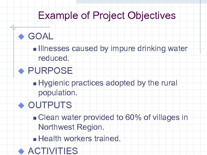 Example of Project Objectives u GOAL n u PURPOSE n u Illnesses caused by