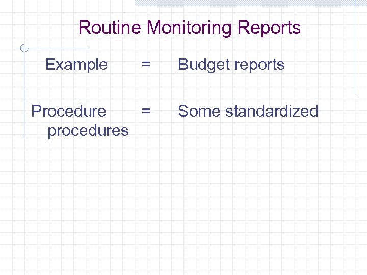Routine Monitoring Reports Example = Procedure = procedures Budget reports Some standardized
