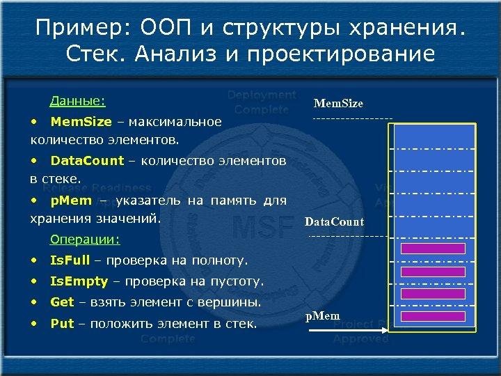 Пример: ООП и структуры хранения. Стек. Анализ и проектирование Данные: Mem. Size • Mem.
