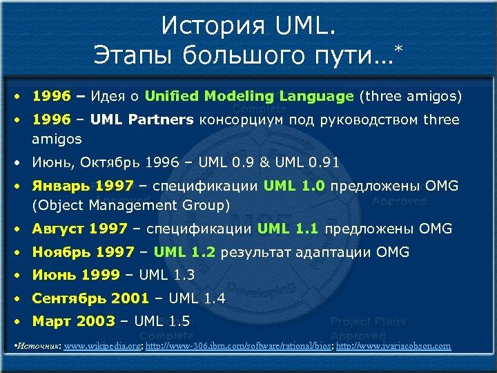История UML. Этапы большого пути…* • 1996 – Идея о Unified Modeling Language (three
