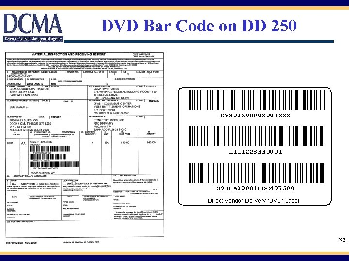 DVD Bar Code on DD 250 32