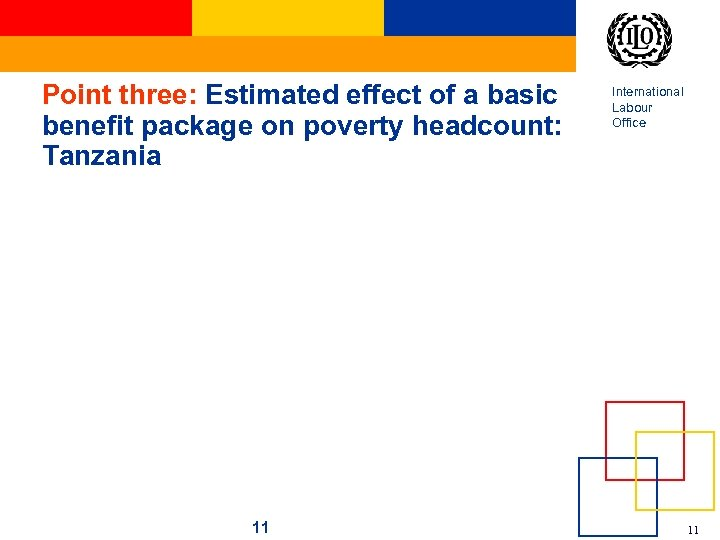 Point three: Estimated effect of a basic benefit package on poverty headcount: Tanzania 11