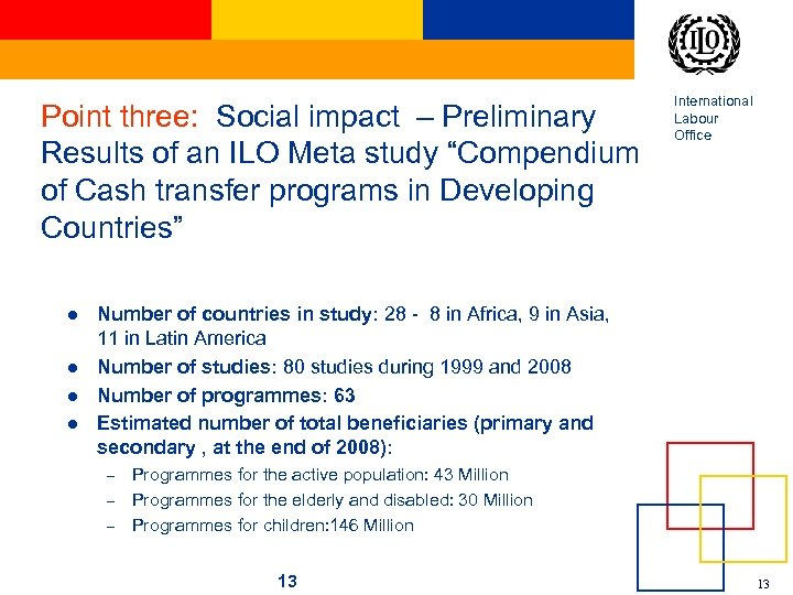 "Point three: Social impact – Preliminary Results of an ILO Meta study ""Compendium of"
