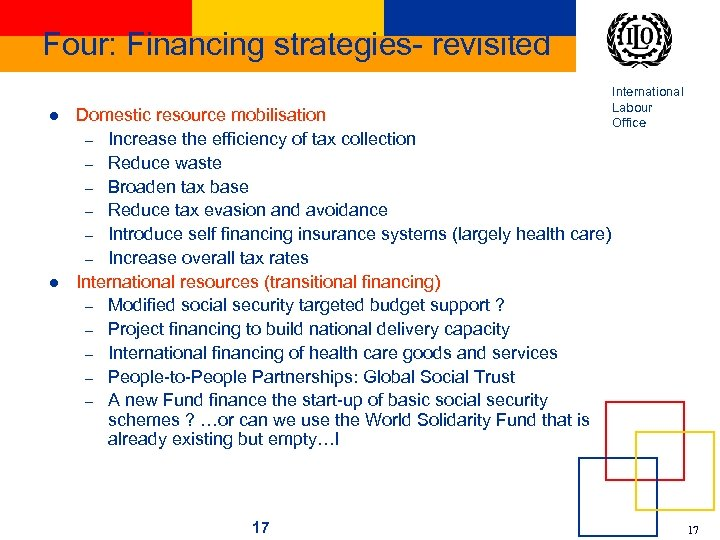 Four: Financing strategies- revisited l l Domestic resource mobilisation – Increase the efficiency of
