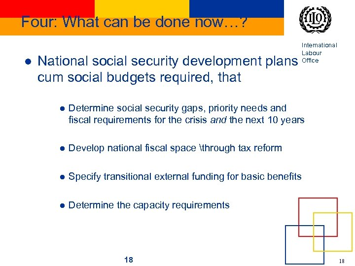 Four: What can be done now…? l National social security development plans cum social