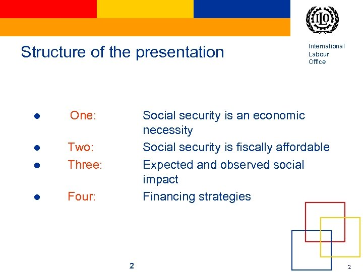 Structure of the presentation l One: l l Two: Three: l Four: International Labour