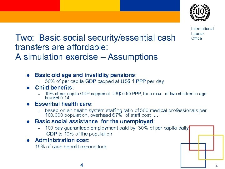 Two: Basic social security/essential cash transfers are affordable: A simulation exercise – Assumptions l