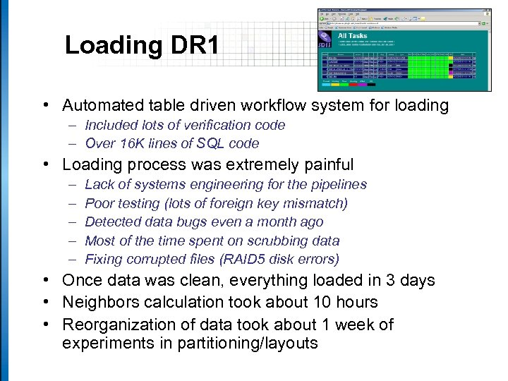 Loading DR 1 • Automated table driven workflow system for loading – Included lots