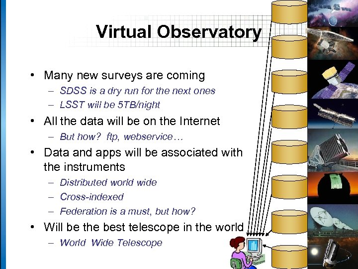 Virtual Observatory • Many new surveys are coming – SDSS is a dry run