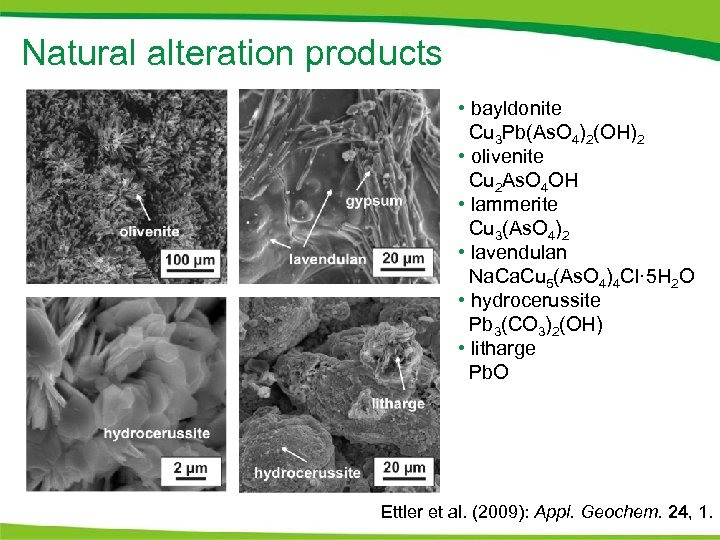 Natural alteration products • bayldonite Cu 3 Pb(As. O 4)2(OH)2 • olivenite Cu 2