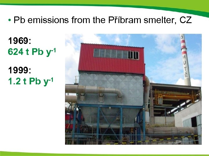 • Pb emissions from the Příbram smelter, CZ 1969: 624 t Pb y-1