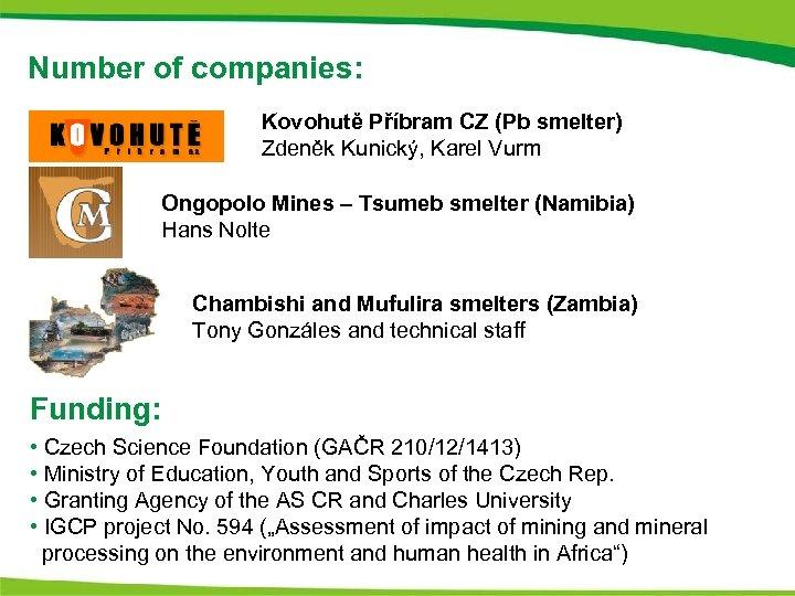 Number of companies: Kovohutě Příbram CZ (Pb smelter) Zdeněk Kunický, Karel Vurm Ongopolo Mines