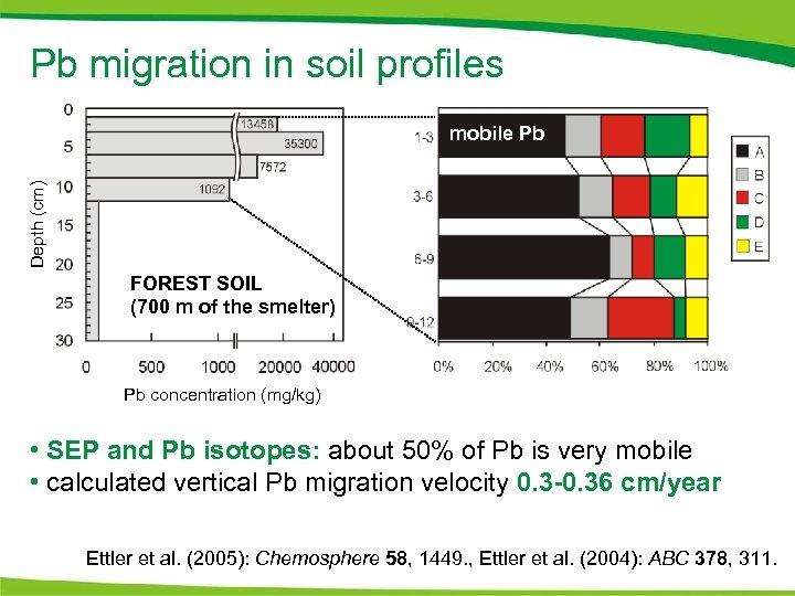 Pb migration in soil profiles Depth (cm) mobile Pb FOREST SOIL (700 m of