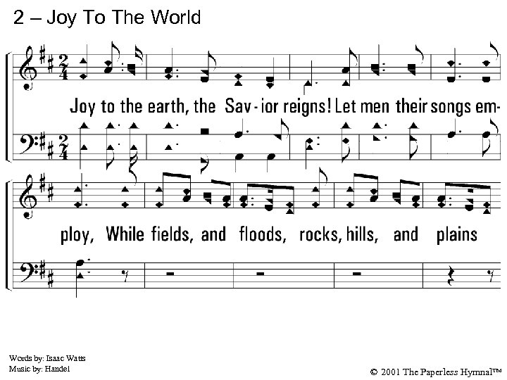 2 – Joy To The World 2. Joy to the earth, the Savior reigns!