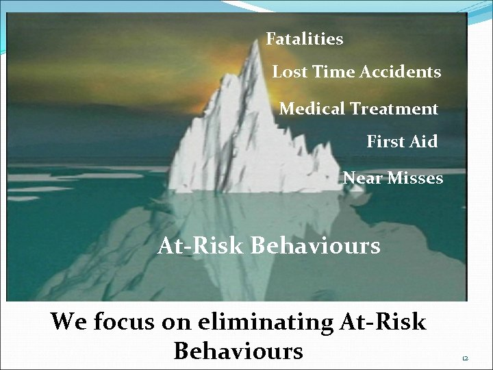 Fatalities Lost Time Accidents Medical Treatment First Aid Near Misses At-Risk Behaviours We focus