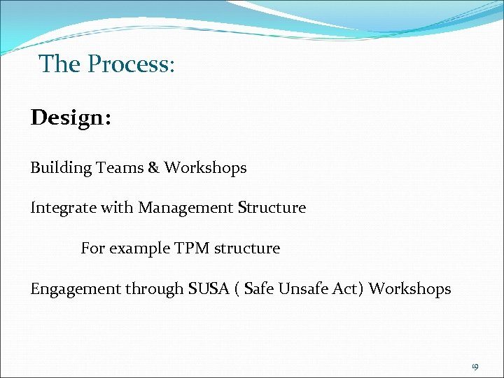 The Process: Design: Building Teams & Workshops Integrate with Management Structure For example TPM