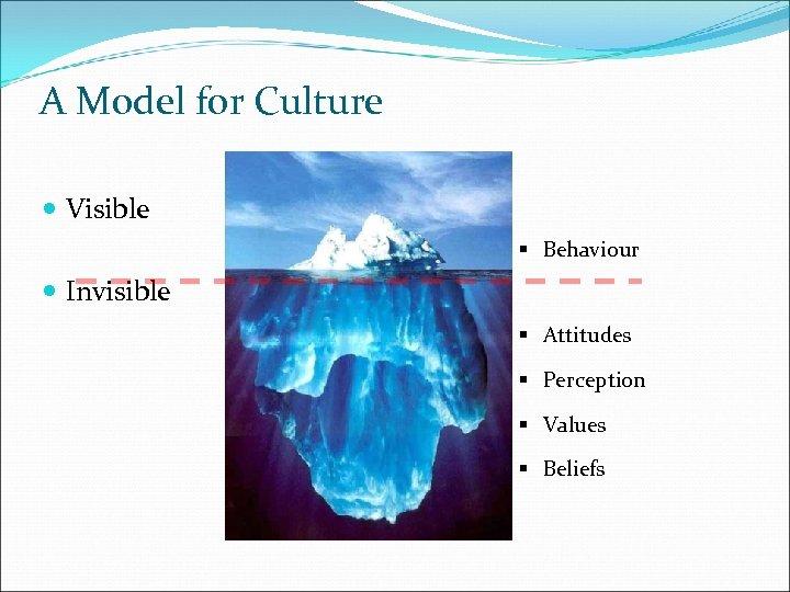 A Model for Culture Visible § Behaviour Invisible § Attitudes § Perception § Values